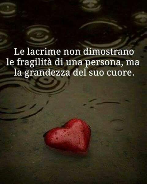 Le lacrime non dimostrano le fragilità di una persona, ma la grandezza del suo cuore
