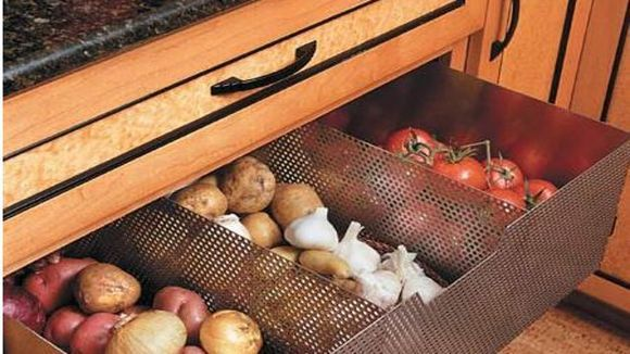 A great idea for storing those veggies that don't go in the fridge!
