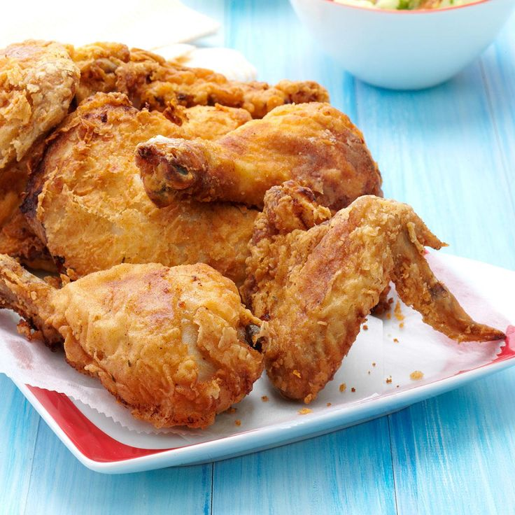 "Picnic Fried Chicken Recipe -For our family, it's not a picnic unless there's fried chicken! Chicken, deviled eggs and potato salad are all musts for a picnic as far as my husband is concerned. This is a ""Golden Oldie"" recipe for me—I've used it any number of times. —Edna Hoffman, Hebron, Indiana"