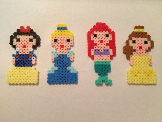 Disney Princess, Perler Beads, Geekery, magnet, Ariel, Belle, Cinderella, Snow White, christmas ornament