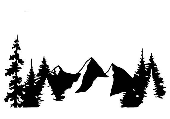 Mountains And Trees Vinyl Decal Mountain Decal Mountain