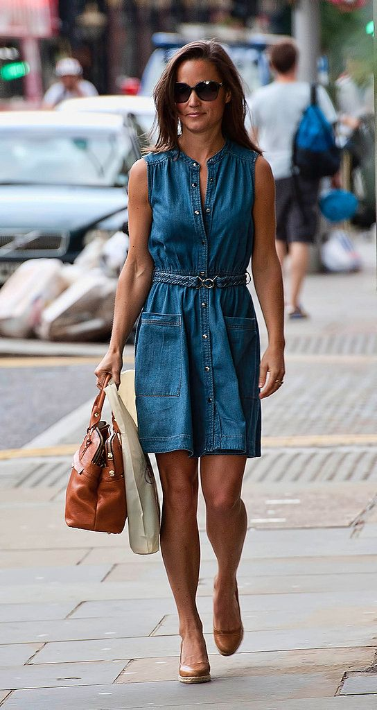 With a seasonal twist, Pippa outfits a femme day dress in a summery, lightweight denim. It's a great lesson in playing to the seasons with your officewear — opt for sleeveless shirt dresses, breezy fabrics, and brighter prints during Spring and Summer months at work.