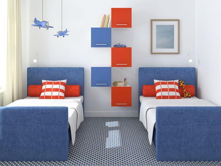 С синим цветом в детской комнате легко создать морской дизайн