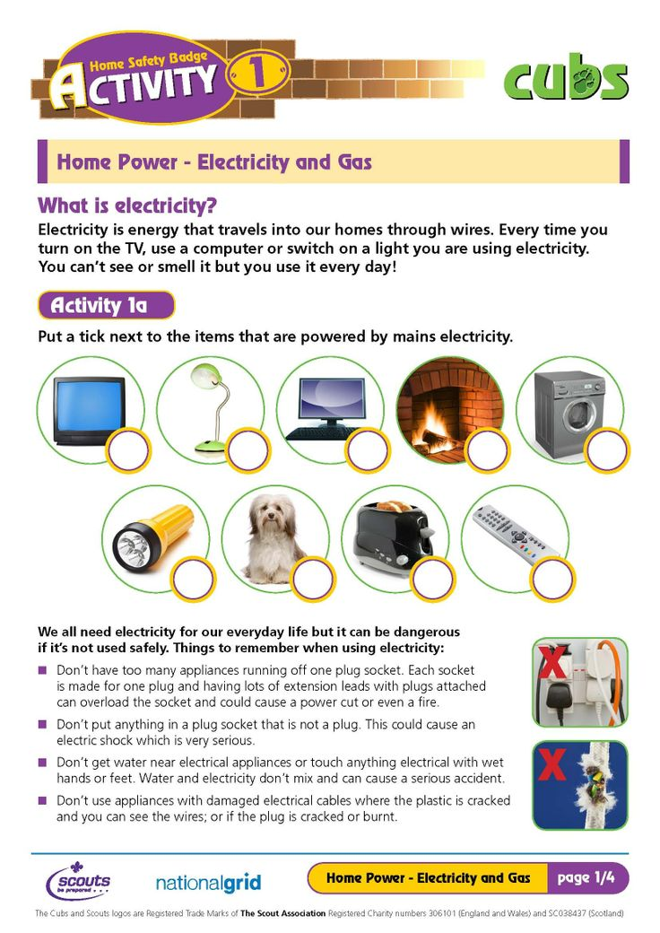 Cub Scouts (UK) Home Safety activity sheets Home