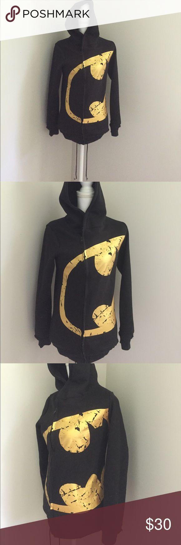 Asymmetrical batman hoodie s/m runs small Asymmetrical batman hoodie s/m runs small. Preowned. Drawstring on bottom to tighten/loosen. Other