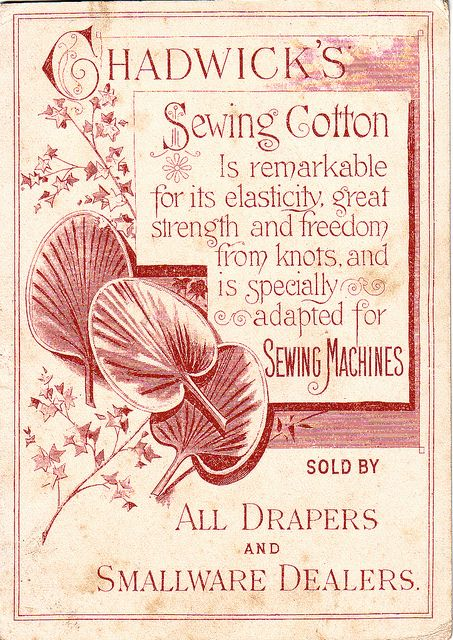 Chadwick U0026 39 S Sewing Cotton Trade Card Back
