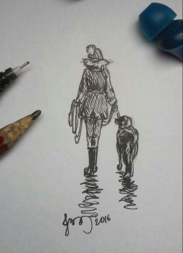 Дама с собачкой. Когда идёшь с собакой на прогулке, ты видешь мир иначе))) #собака #прогулка #дама #дамассобачкой #прогулкассобакой #рисунок #зарисовка #быстраязарисовка #чёрнаяручка #карандаш #инстаграм #вк #instagood #artwork  #spbart #спбарт #ялюблюспб #sunlightshine16 #работа #картина #искусство #вк #instagram #instagood #fb #deviantart #pinterest  #арт #няшки #бесконечность #star