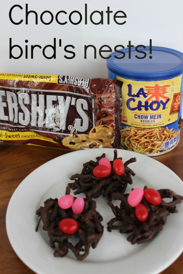 Chocolate bird's nests. Only two ingredients. Quick, easy and a wonderful chocolate treat. Choose optional garnishes to make them more seasonal.