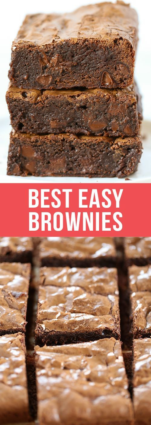 Best Easy Brownies require just 1 bowl, no mixer, and take less than an hour to make! They're tall, fudgy, and chewy with that thin shiny crust on top and tons of chocolate flavor.  #brownies #chocolate #dessertrecipes #recipe #dessert #Browniesrecipe #Baking