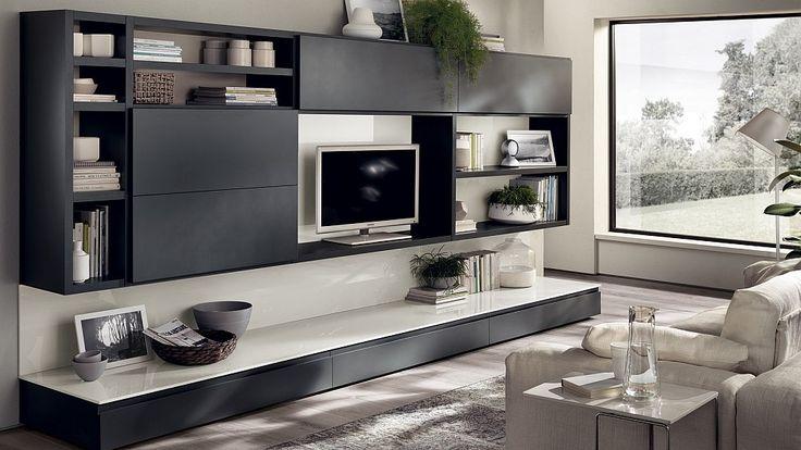 Elegant gray living room wall units offer sleek sophistication - Decoist