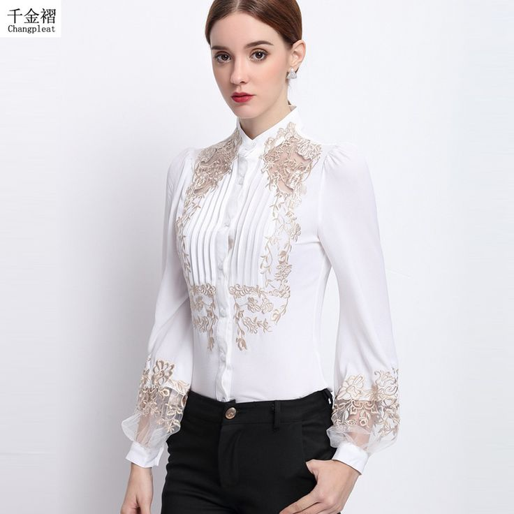 2017 spring silk embroidered women's shirt White Stand collar long-sleeve Slim women's blouses top Working blouse New arrival B6