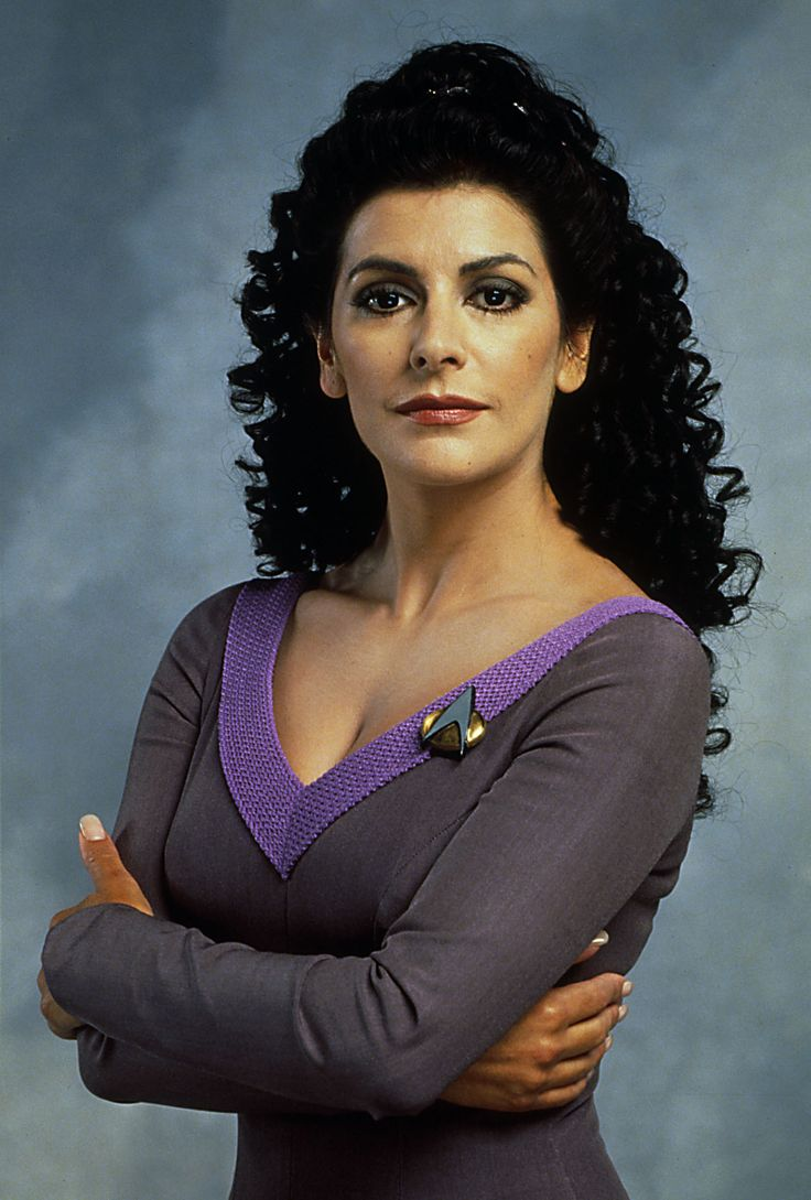 I wish I had this much hair... it helps to know that she didn't actually have that much hair either. :) I love Deanna Troi.