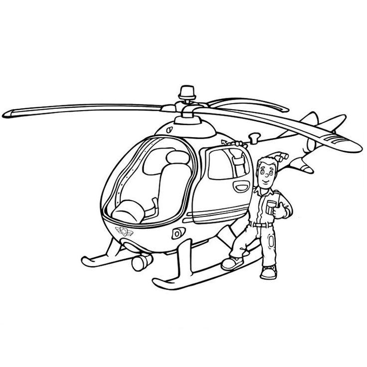 Coloriage Hélicoptère Pompier a Imprimer Gratuit