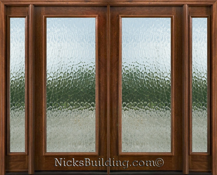 Exterior Double Doors with Sidelights - Solid Mahogany Doors  flemish glass