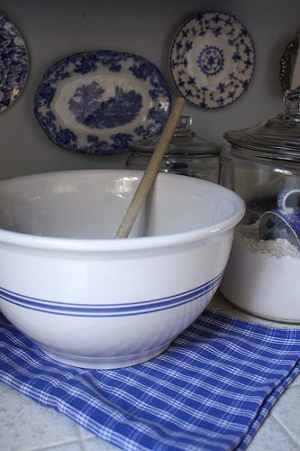 A traditional mixing bowl, however, the traditional pattern of The Chief and Gran. The Chief had all his dishes and coffee cups with that blue line under the rim at the top. The mixing bowl, so very important. So much love Gran poured into all the food she prepared for her family she loved so very much. If our cooking could only be half as good as her's. But how could it, her love was so much greater than ours. We are still learning. ♥