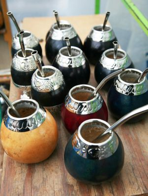 yerba mate colorful gourds and bombilla