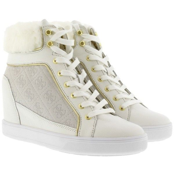 Guess Sneakers - Fur Wedge Sneaker Suede White - in white - Sneakers... ($135) ❤ liked on Polyvore featuring shoes, white, suede shoes, fur shoes, hidden wedge shoes, suede leather shoes and cap toe shoes