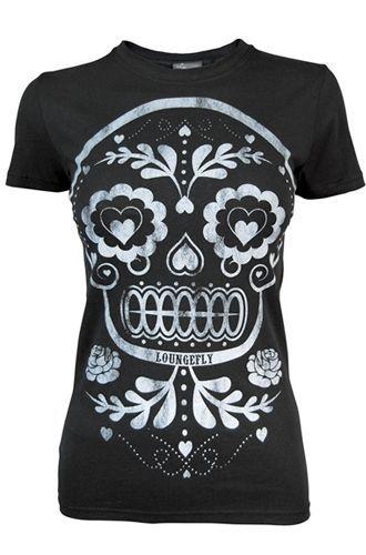 Loungefly Sugar Skull Women s T-Shirt....like.  d7c65947db4