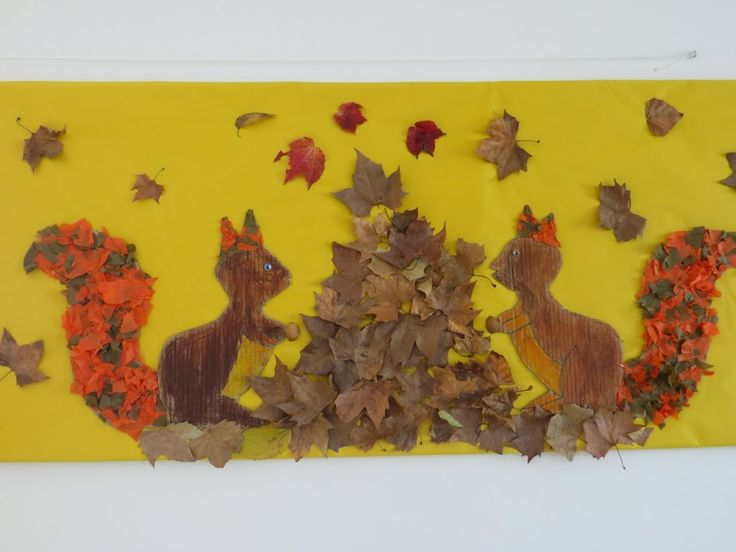 ESQUIROLS - Material: cartró. paper, fulles de plataner, tisores, cola - Nivell: Migdia Infantil 2014/15 Escola Pia Balmes