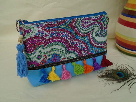 Handmade Cosmetic Makeup Bag Washbag, Boho Festival Tassels, Light Cornflower Blue Canvas Fabric, Purple Check lining, Purse Present  Gift