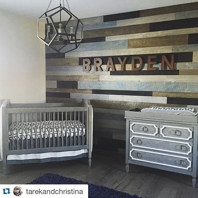 Cool wall How adorable is this nursery? Check out more spaces from Tarek and Christina tonight on Flip or Flop Follow Up at 9/8c. #Repost @tarekandchristina: