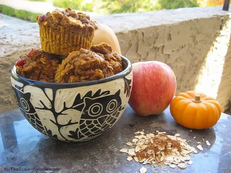 Pumpkin-Apple Harvest Muffins I love this bowl.