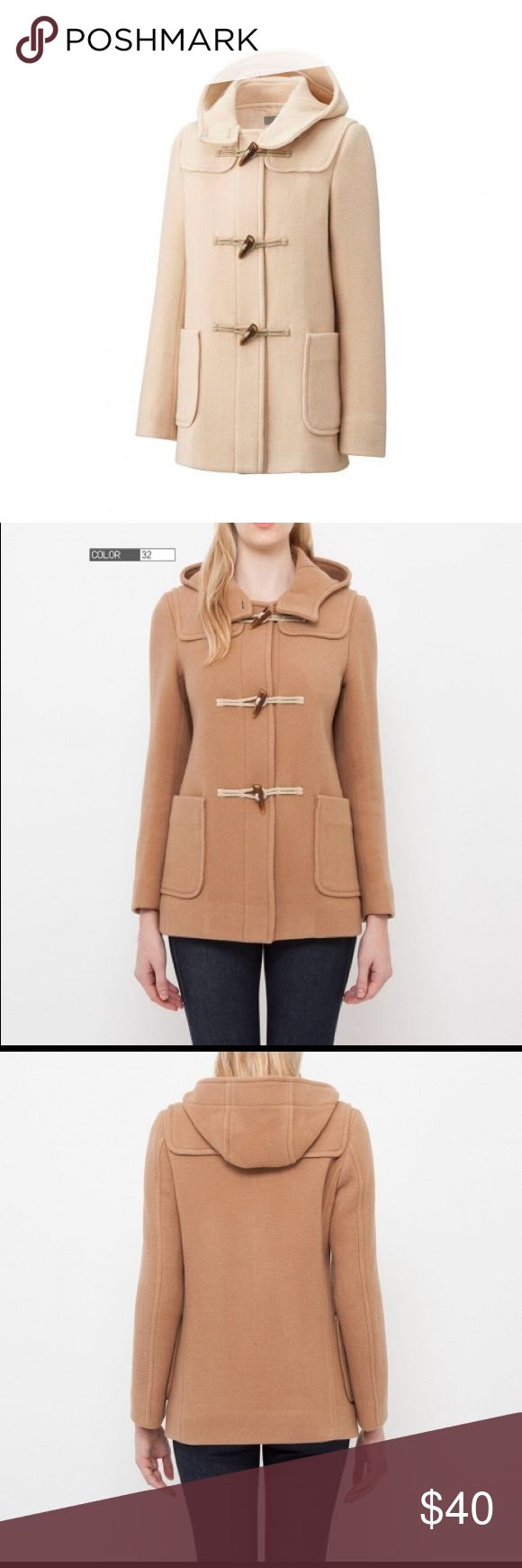 """Wool Duffle Coat """"A beautiful, warm duffle coat featuring classic duffle design with pockets, storm patches and toggles. Made with a comfortable, lightweight wool blend, it will keep you warm for long periods of time without weighing you down."""" Like new condition. Barely worn. Color is cream, first photo. Uniqlo Jackets & Coats"""