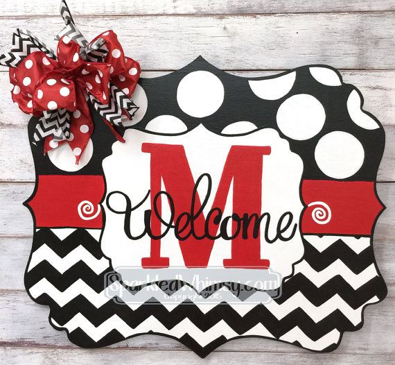 Christmas Door Hanger: Chevron & Polkadot Monogram Welcome Door Hanger Sign