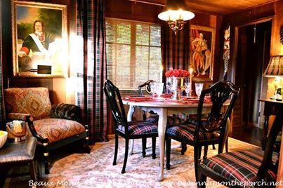 Christmas Theme Plaid Dining Room Chairs