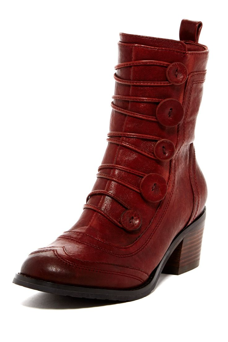 "Megan Wingtip Boot in wine by Miz Mooz $175 - ($105) $85 @HauteLook. - Round wingtip toe - Leather construction - Button toggle shaft detail - Side zip closure - Back pull-tab - Faux fur lining - Approx. 6"" shaft height, 10.5"" opening circumference - Approx. 2.25"" heel - Leather upper, leather and faux fur lining, manmade sole"