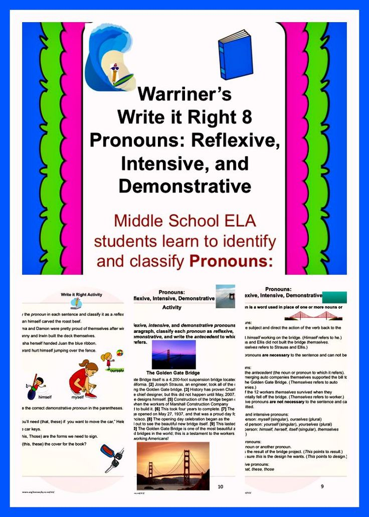 Warriner's Write it Right 8--Pronouns: Reflexive, Intensive, and Demonstrative. For Middle School ELA students. Activities, Handouts, and Rubrics!