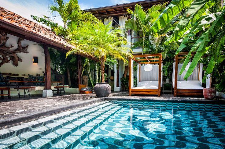 Hôtel Tribal au Nicaragua, piscine, palmiers, vacances été