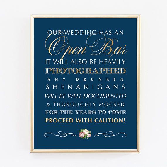 Open Bar Wedding Sign Printable Wedding Sign Shenanigans