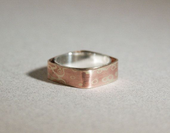 mokume hollow copper brass silver ring by Amaranthinejewellery