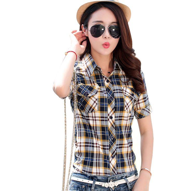 Brand New 2017 Summer Style Plaid Print Short Sleeve Shirts Women Plus Size Blouses Casual 100% Cotton Tops Blusas 14 Colors