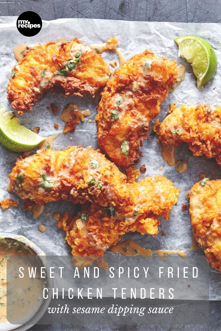 This sweet and spicy Asian-inspired fried chicken is insanely good and pairs perfectly with a rich and velvety dipping sauce that is full of fresh herb flavors. You can use one 14-ounce can of sweetened condensed milk for both steps in this recipe to create a sweet, rich, and savory dish your whole family will love. If you want to make your recipe spicier, just add a bit more Sriracha to the dipping sauce to bring up the heat. | MyRecipes