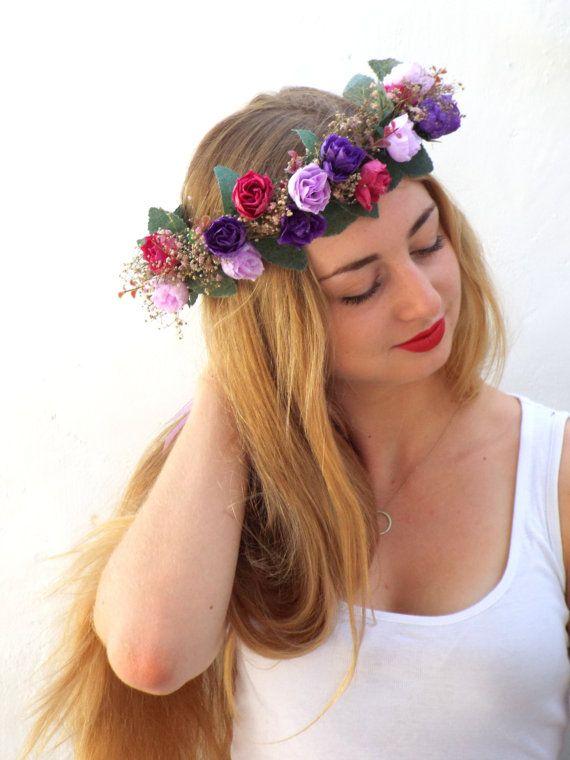 Corona di fiori viola rosa breth sposa fascia di DelosArtist