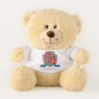Jayden J letter name meaning crest Teddy Bear - baby gifts child new born gift idea diy cyo special unique design