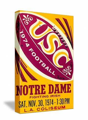 """USC football tickets! The best vintage USC football tickets like the 1974 """"Comeback"""" against Notre Dame. See all our USC football tickets at http://www.shop.47straightposters.com/California-Football-Tickets-USC-Stanford-CAL-UCLA-tickets_c13.htm"""