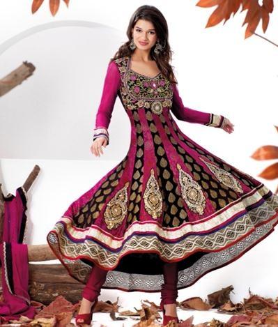 $141.06 Pink Embroidery Wedding Anarkali Salwar Kameez 22353