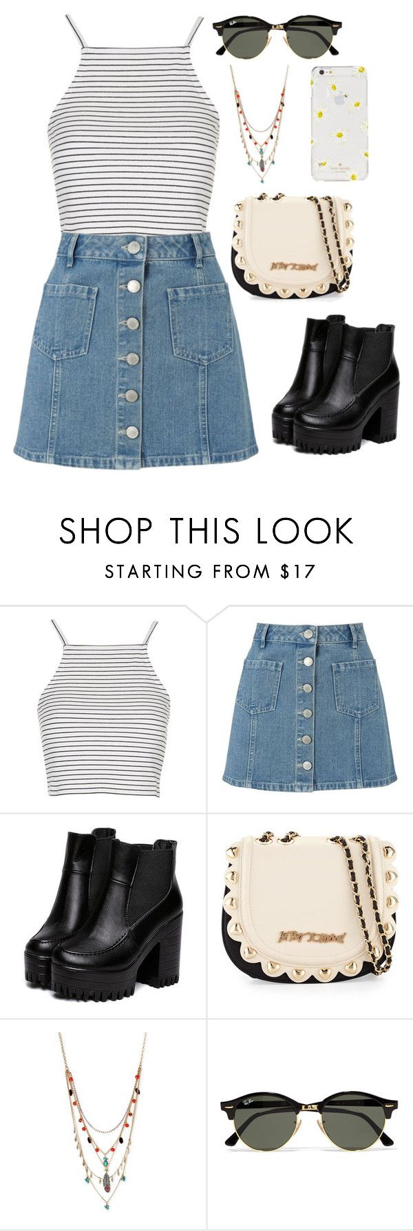 """Untitled #379"" by ak00 ❤ liked on Polyvore featuring Topshop, Miss Selfridge, Betsey Johnson, Ray-Ban and Kate Spade"