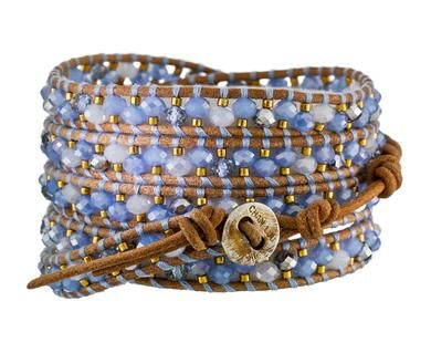 Chan Luu | Blue Crystal Beaded Wrap Bracelet in Designers Chan Luu Bracelets at TWISTonline