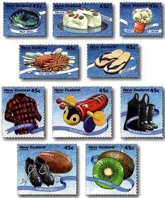 Kiwiana...some popular Kiwi Icons..Paua,Pavlova,TipTop,Jandals,BuzzyBee,Kiwifruit...etc