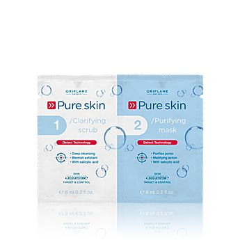 Pure Skin 1 Clarifying Scrub 2 Purifying Mask    Abrazivní gel a čisticí maska 2v1 Pure Skin  www.oriflame-24.cz