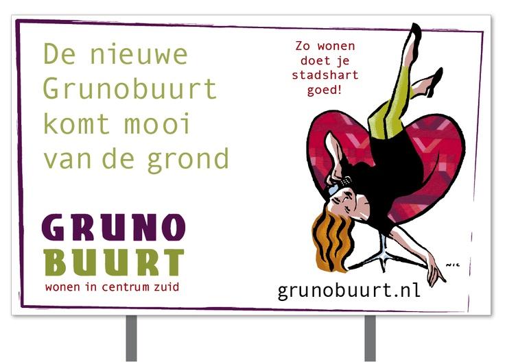 Bouwbord Grunobuurt, Groningen