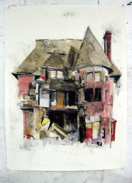 Abandoned by Seth Clark - collage, oil, colored pencil, pastel, charcoal, graphite on paper    The William Livingstone Mansion in Detroit's Brush Park