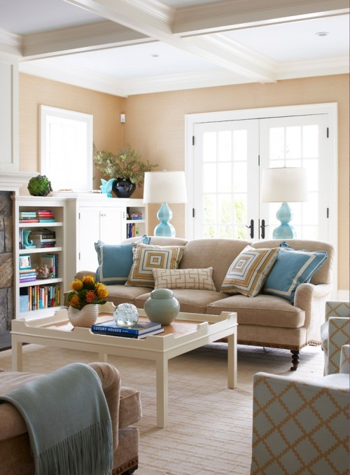 Lounge room inspiration- colours. love the mix of neutral & cornflower blue cushions & throw rugs. Just love how comfortable and cosy it looks, like you would feel very at home.