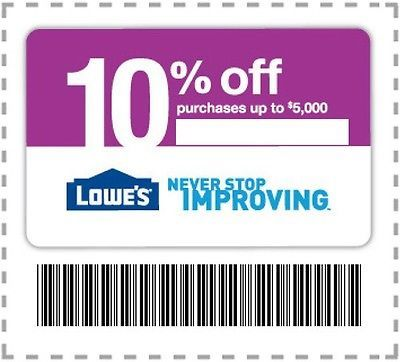 Lowes 10% Off Coupon SAVE 10% FAST! Lowe's 10% off entire order!