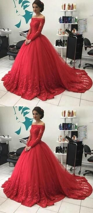 2f3ce22be9 Off Shoulder Lace Prom Dress,Chic A-line Prom Dress,Long Ball GownProm Dress ,Red Long Sleeves Ball Gowns Evening Dresses,Tulle Lace Appliques Formal  Dresses