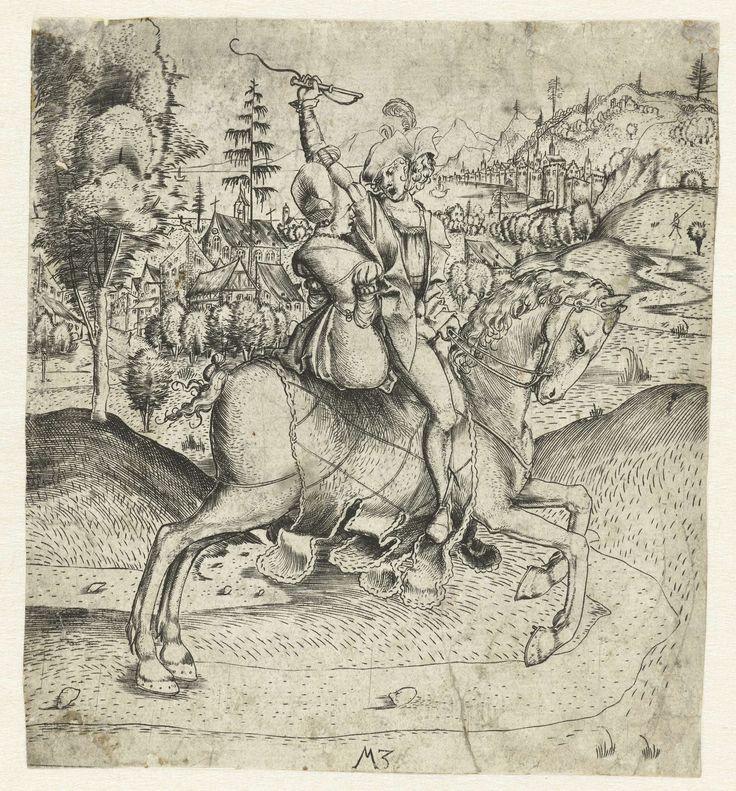 Monogrammist MZ | Het rijdende paar, Monogrammist MZ, 1500 - 1503 | Een man en een vrouw rijden samen op één paard. Op de achtergrond een stad aan het water.